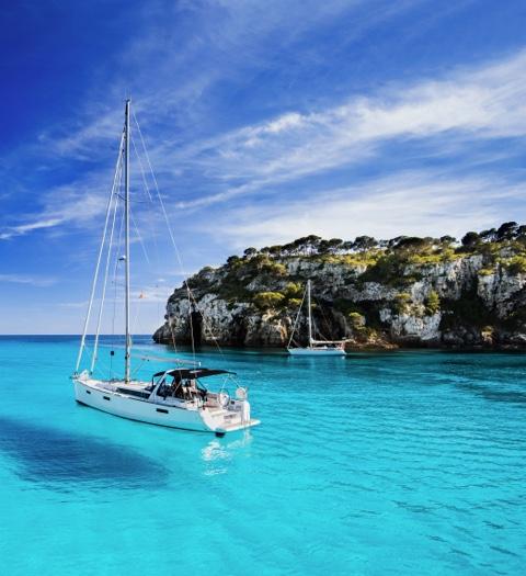 Beautiful bay with sailing boats Menorca island.jpg
